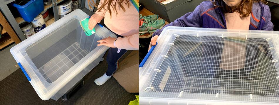 making a hamster bin cage